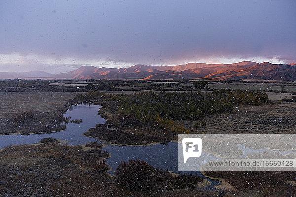Creek at sunset in Picabo  Idaho  USA