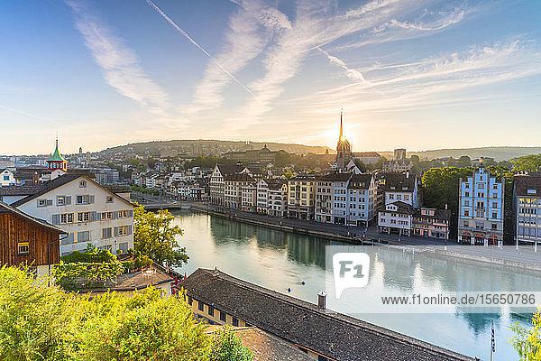 Sunrise over Limmat River seen from Lindenhof Hill  Zurich  Switzerland