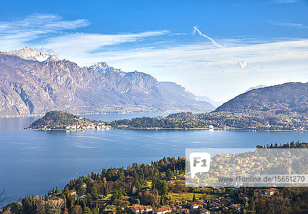 Bellagio and Varenna viewed from Griante on the western shore of Lake Como  Lombardy  Italian Lakes  Italy