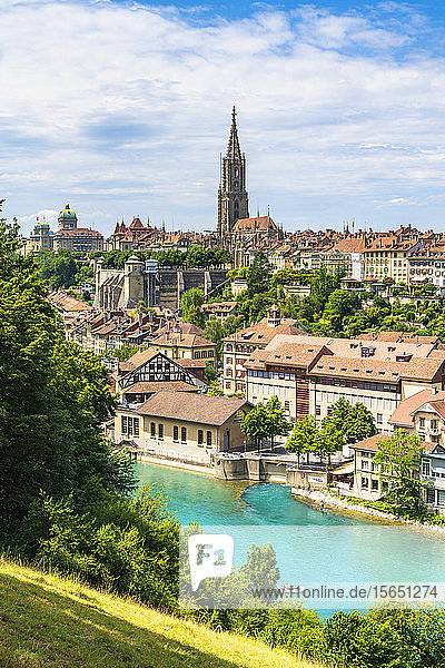 Aare River with Munster Cathedral and city centre in background  Bern  Canton Bern  Switzerland
