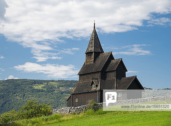 The Urnes Stave Church in Urnes  UNESCO World Heritage Site  on Sogne Fjord  Vestlandet  Norway  Scandinavia