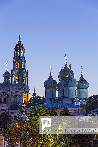 Evening  Overview  The Holy Trinity St. Sergius Lavra  UNESCO Site  Sergiev Posad  Golden Ring  Moscow Oblast  Russia