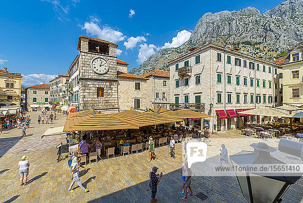 View of Old Town Clock Tower in the Old Town of Kotor  UNESCO World Heritage Site  Kotor  Montenegro