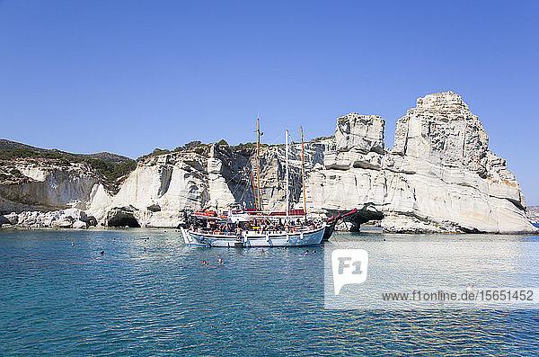 Tour Boats  Kleftiko Bay  Milos Island  Cyclades Group  Greek Islands  Greece  Europe