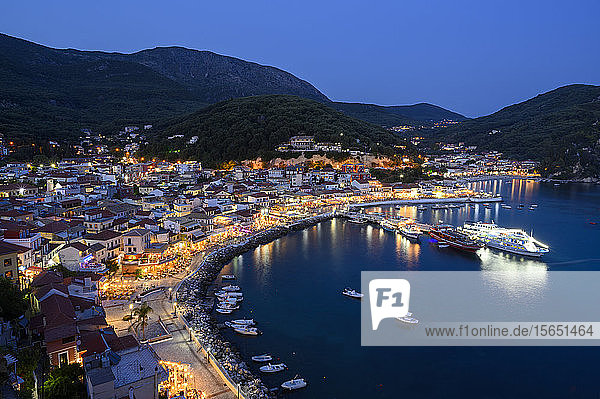 The elevated view of Parga town at night  Parga  Preveza  Greece