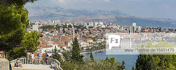Panoramic view from above the town of Split Town and Cathedral of Saint Domnius  Split  Dalmatian Coast  Croatia