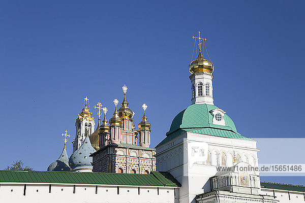 Holy Gate in the foreground  The Holy Trinity St. Sergius Lavra  UNESCO World Heritage Site  Sergiev Posad  Golden Ring  Moscow Oblast  Russia