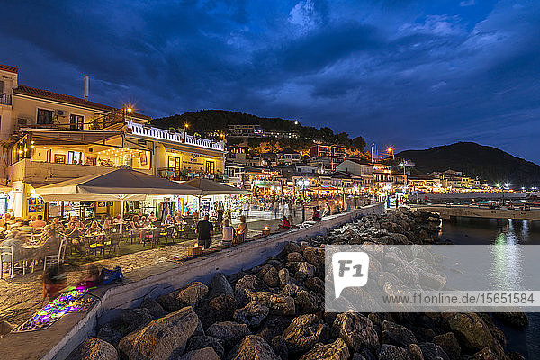 Parga town and harbour at night  Parga  Preveza  Greece