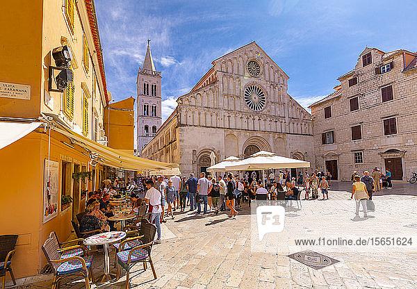 View of busy restaurant and Cathedral of St. Anastasia  Zadar  Zadar county  Dalmatia region  Croatia  Europe