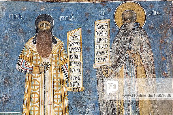 Fresco of Mitropoli and St. Daniel  Voronet Monastery  1487  UNESCO World Heritage Site  Gura Humorului  Suceava County  Romania