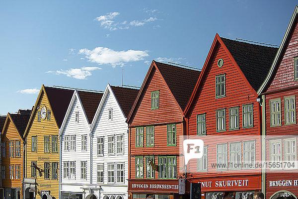 Colourfully painted timber buildings in Bryggen  the old harbour in Bergen  UNESCO World Heritage Site  Bergen  Vestlandet  Norway  Scandinavia