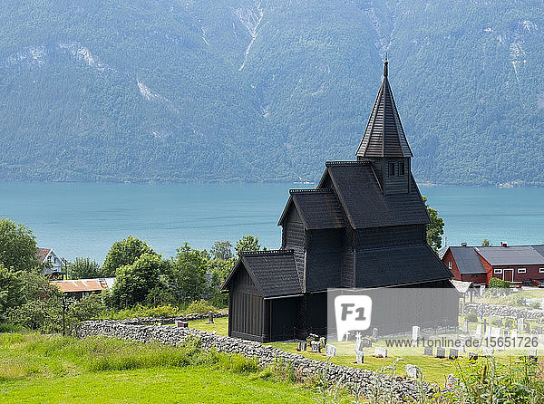 The Stave Church in Urnes  UNESCO World Heritage Site  Sognefjord  Norway  Scandinavia