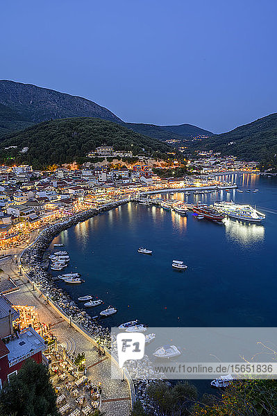 Elevated view of Parga town at night  Parga  Preveza  Greece