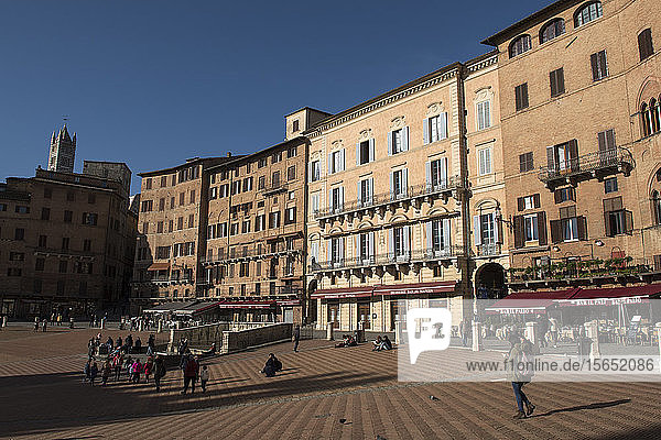 A view of Piazza del Campo  UNESCO World Heritage Site  Siena  Tuscany  Italy