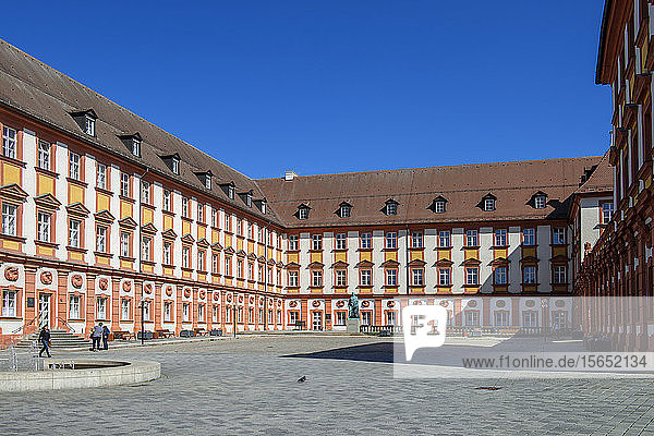 Exterior of Altes Schloss against clear blue sky  Bayreuth  Germany