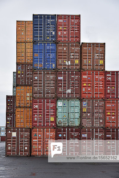 Cargo containers against sky at commercial dock in Frankfurt Osthafen  Germany