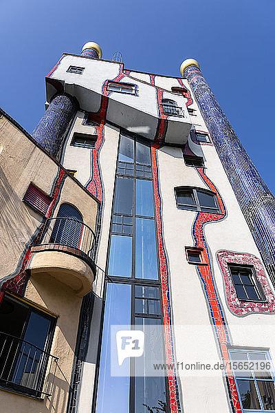 Germany  Baden-Wurttemberg  Plochingen  Exterior of Hundertwasserhaus Plochingen building