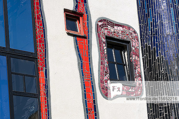 Germany  Baden-Wurttemberg  Plochingen  Windows of Hundertwasserhaus Plochingen building