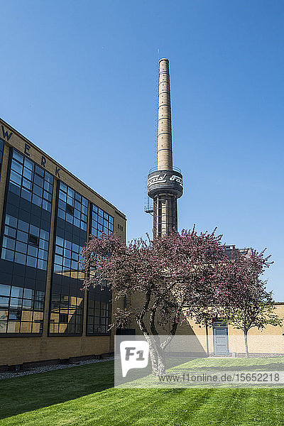 Low angle view of Fagus Factory against clear blue sky  Alfeld  Lower Saxony  Germany