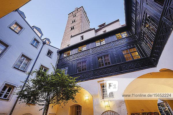 Renaissance arcades in courtyard of Golden Tower  Regensburg  Upper Palatinate  Bavaria  Germany