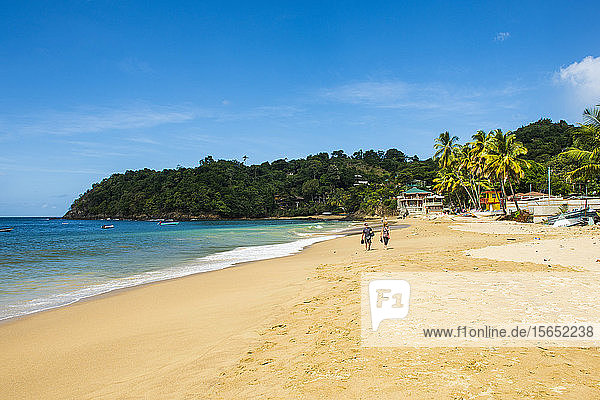 Scenic view of Castara beach against blue sky during sunny day  Tobago  Caribbean