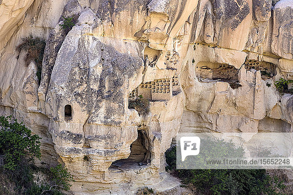 Carved rock formations at Goreme Open Air Museum  Cappadocia  Turkey