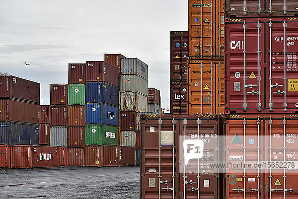 Cargo containers at commercial dock in Frankfurt Osthafen  Germany