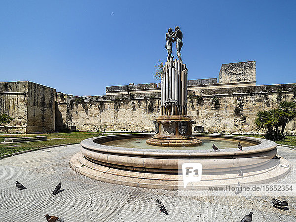 Fontana dell Armonia against clear blue sky during sunny day  Lecce  Italy