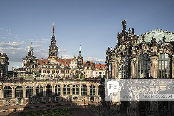 High angle view of Zwinger against blue sky in Saxony  Germany