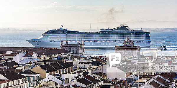 Cruise ship in Tagus River against sky at Lisbon  Portugal