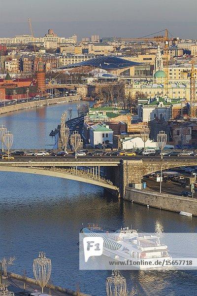 Cityscape  Kremlin  Moskva river  Moscow  Russia.
