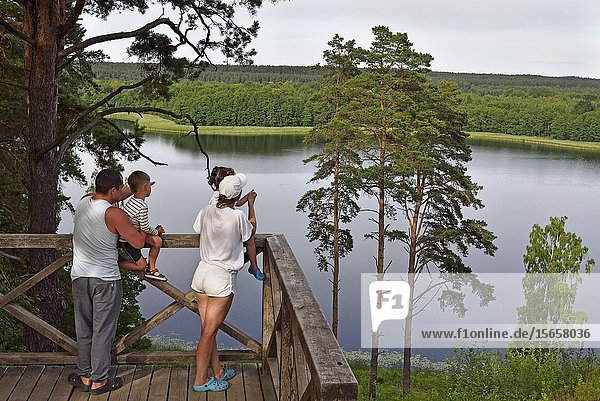 Family admiring the view on the Linkmenas lake from the top of Ladakalnis hill  one of the famous sights of Aukstaitija National Park  near Paluse  Lithuania  Europe.