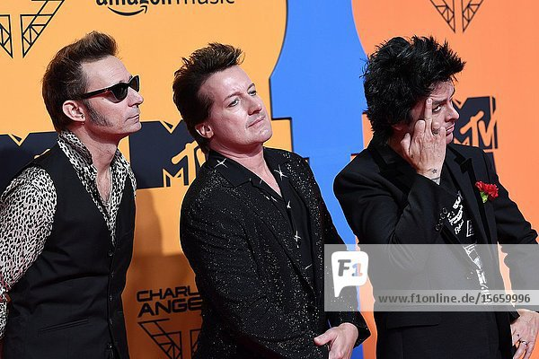 Tre Cool  Mike Dirnt  Billie Joe Armstrong from Green Day attends 2019 MTV Europe Music Awards (EMAs) at FIBES Conference and Exhibition Centre on November 3  2019 in Sevilla  Spain.03/11/2019.