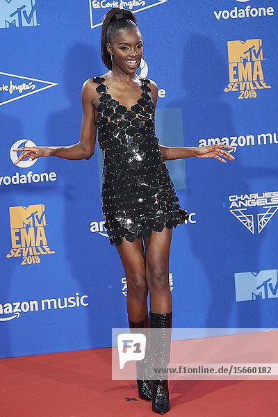 Leomie Anderson attends 2019 MTV Europe Music Awards (EMAs) - Winners Room at FIBES Conference and Exhibition Centre on November 3  2019 in Sevilla  Spain