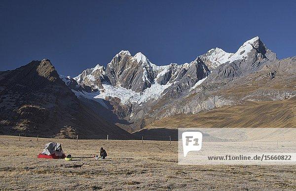 Mountain panorama at the Janca (Mitacocha) campsite  Cordillera Huayhuash circuit  Ancash  Peru.