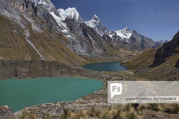 Mirador Tres Lagunas vista on the Cordillera Huayhuash circuit  Ancash  Peru.