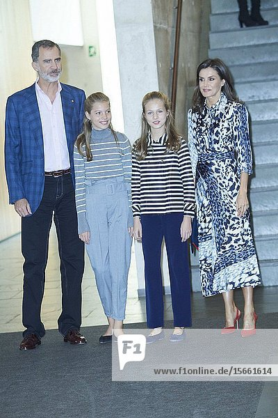 King Felipe VI of Spain  Queen Letizia of Spain  Crown Princess Leonor  Princess Sofia attends 'Princesa de Girona Awards' Workshops at Palau de Congressos de Catalunya on November 5  2019 in Barcelon  Spain