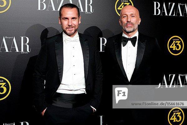 Alvarno designers attend the Harper's Bazaar awards in Palacio de Santoña  Madrid (Spain).November 5  2019