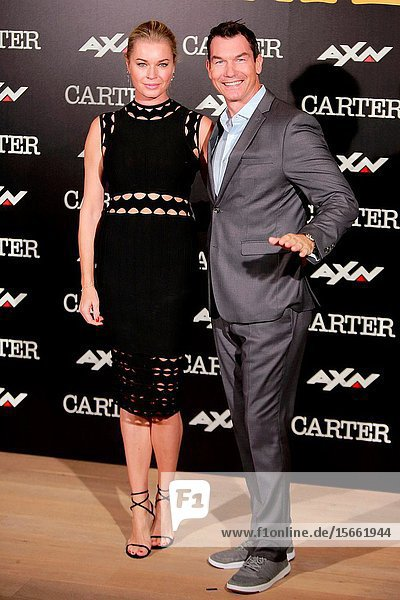Actor Jerry O'Connell and his wife actress Rebecca Alie Romijn attends the photocall of the TV series 'Carter' AXN.7 November 2019 Madrid (Spain).