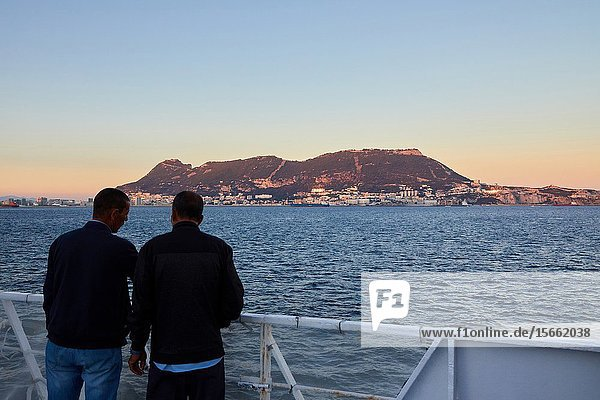 Ferry crossing the Strait of Gibraltar from Morocco to Spain  In the background Rock of Gibraltar  Africa  Europe