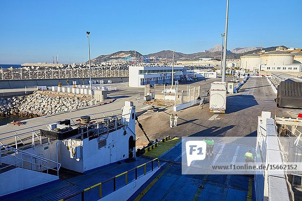 Loading trucks with a trailer  Ferry between Tangier Morocco and Algeciras Spain  Port of Tangier MED  Strait of Gibraltar  Tangier  Morocco  Africa