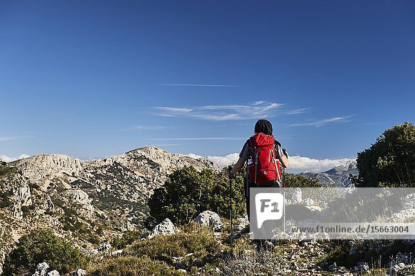 Woman with red backpack hiking near Pla de la Casa peak in Serrella mountain range  Confrides (province of Alicante  Valencian Community)