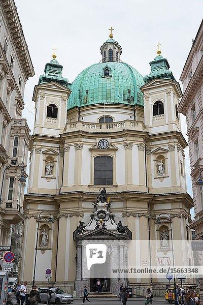 The Peterskirche  St. Peter's Church is a Baroque Roman Catholic parish church in Vienna  Wien  Austria  Europe.
