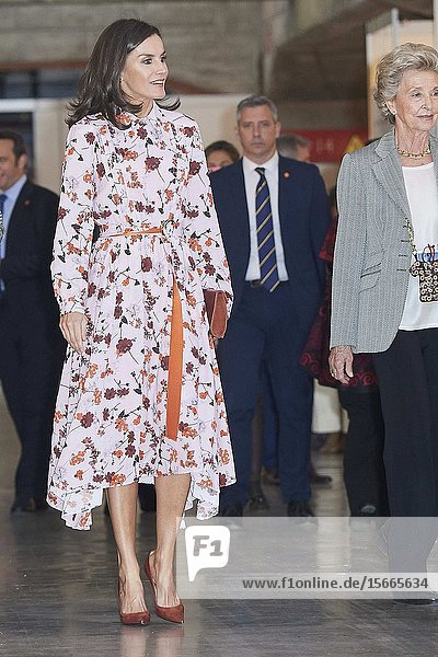Queen Letizia of Spain  The former Queen Sofia attend 'Rastrillo Nuevo Futuro' on November 19  2019 in Madrid  Spain