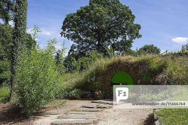 A hobbit inspired garden at RHS Rosemoor in summer near Great Torrington  Devon  England.