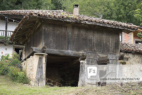 Rural architecture in Asiegu mountain village in Asturias Spain.