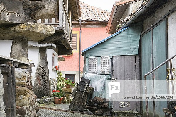 Torazo Asturias Spain on September 10  2019: Horreos Traditional stone and wood construction for storage.
