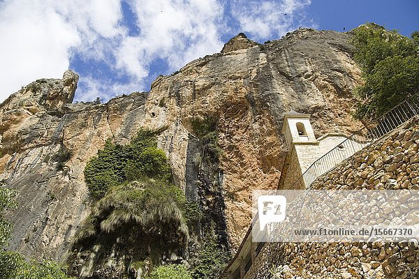 Ermita del LLovedor chapel in Castellote mountain Teruel Aragon Spain.
