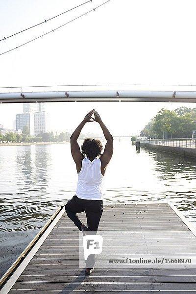 Rear view of Indian man doing yoga pose. Frankfurt  Germany.