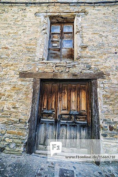 Old door and window in Yanguas. Soria. Spain. Europe.